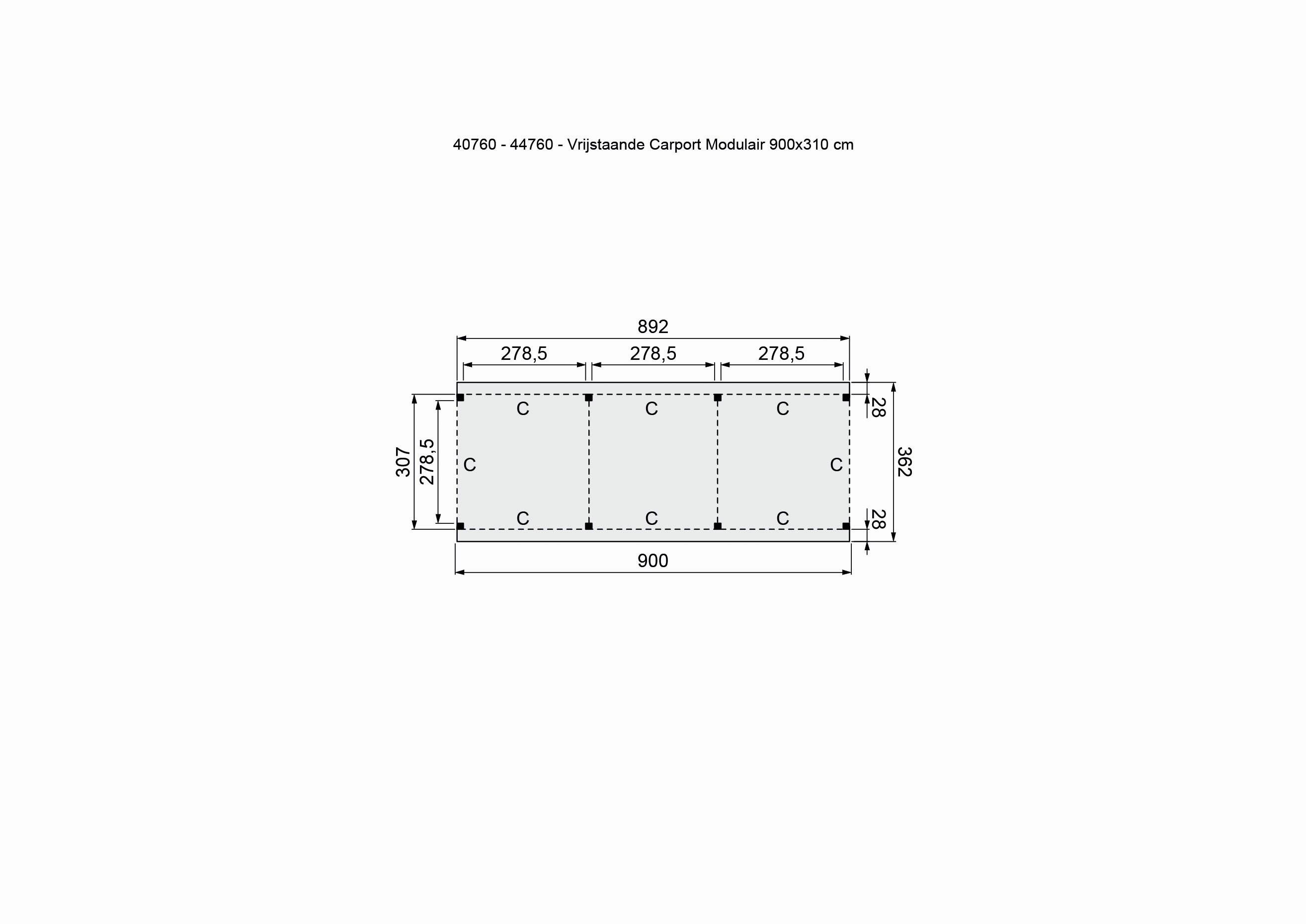 Douglasvision | Carport Vrijstaand 900 x 360