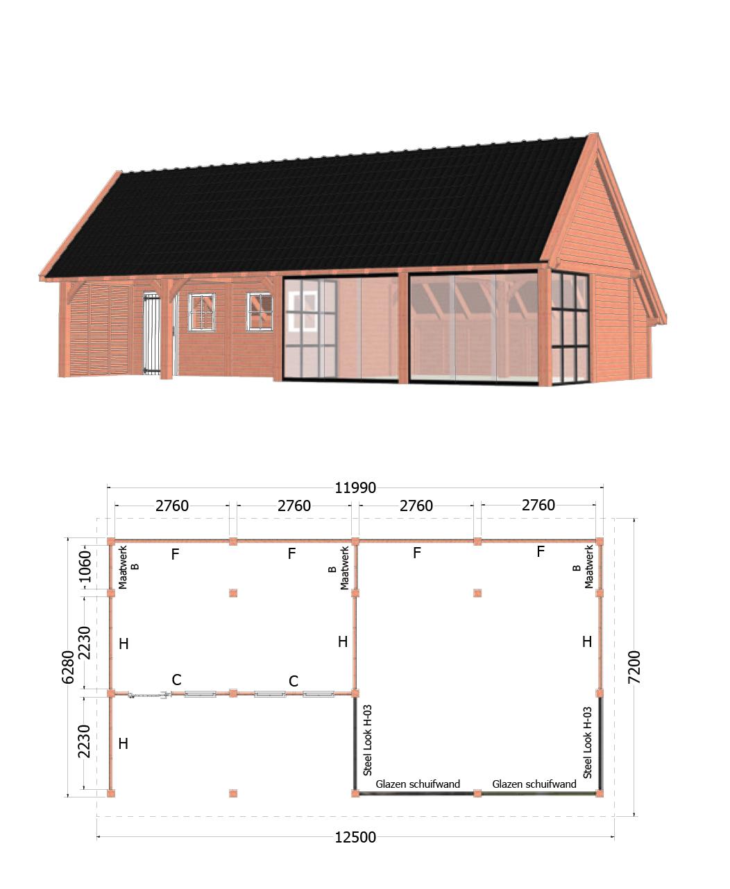 Trendhout | Kapschuur De Hofstee XXL | 12500x7200 | Combinatie 2