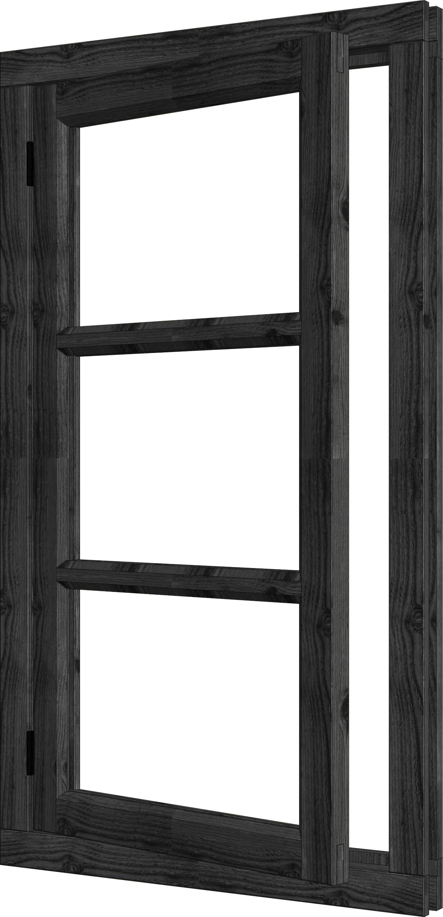 Trendhout | Steel Look Vleugelraam Enkel | U4 Rechtsdraaiend | 80,8 x 143 cm