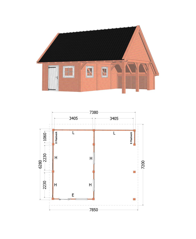 Trendhout | Kapschuur De Hofstee XXL | 7850x7200 | Combinatie 2