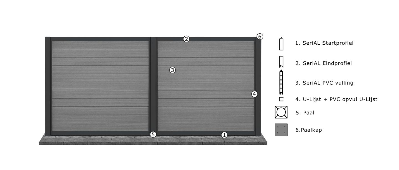 IdeAL | Aluminium scherm met trellis 180x180 | Zilver