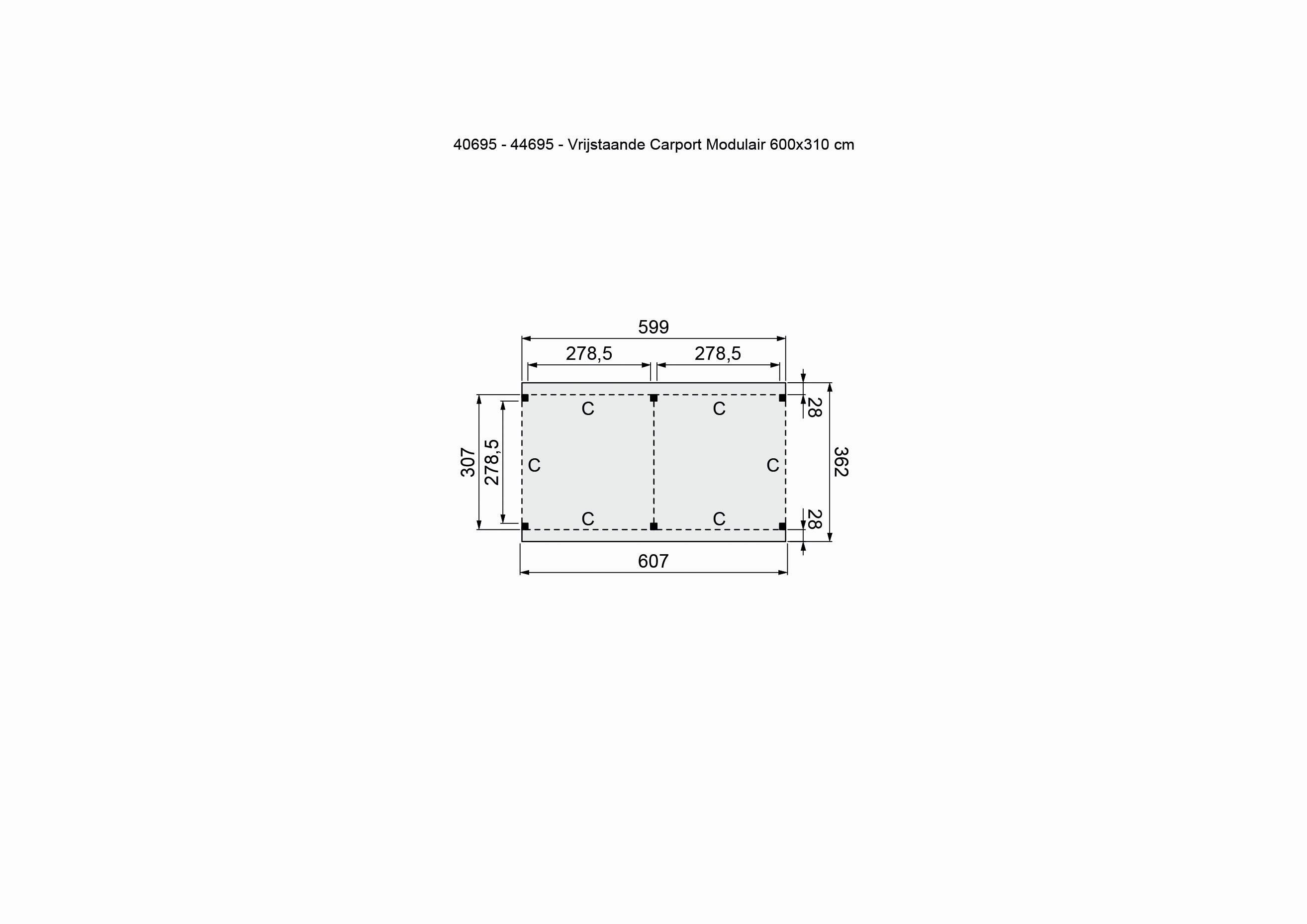 Douglasvision | Carport Vrijstaand 605 x 360 | Geimpregneerd-groen