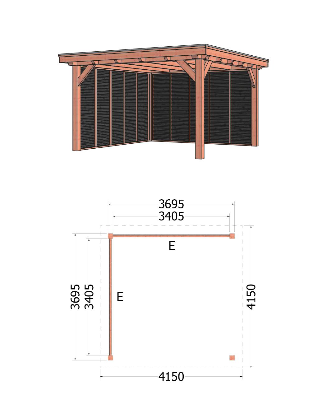 Trendhout | Buitenverblijf Siena | 4150x4150 | Combinatie 2