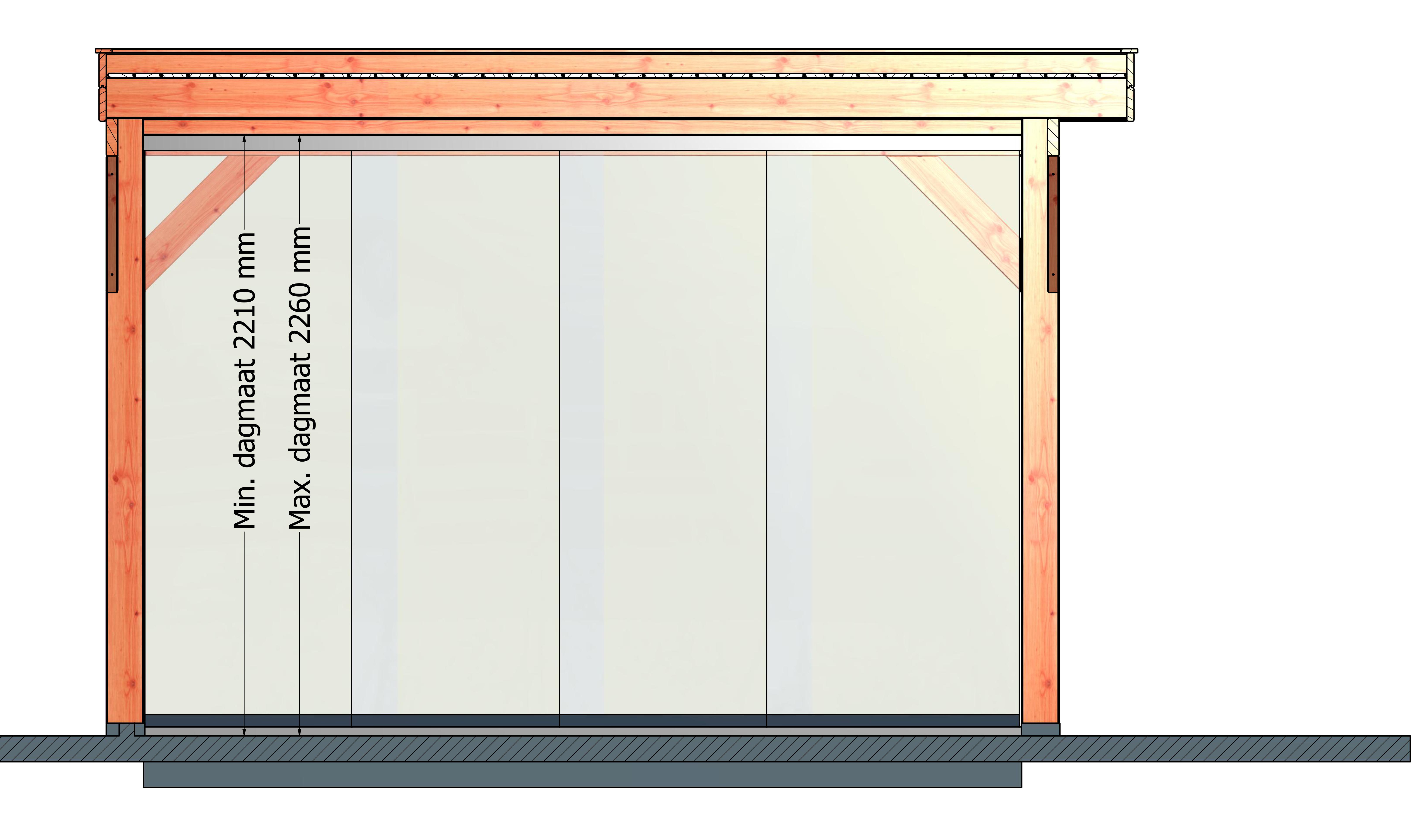 Trendhout | Glazen schuifpaneel | 980 mm