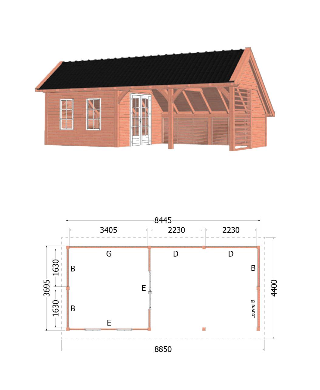 Trendhout | Kapschuur De Hoeve XL | 8850x4400 | Combinatie 2