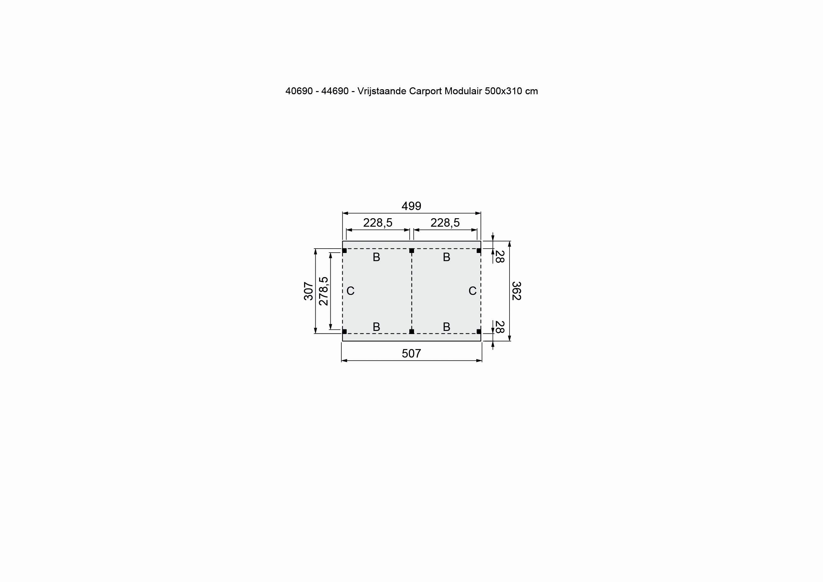 Douglasvision | Carport Vrijstaand 505 x 360