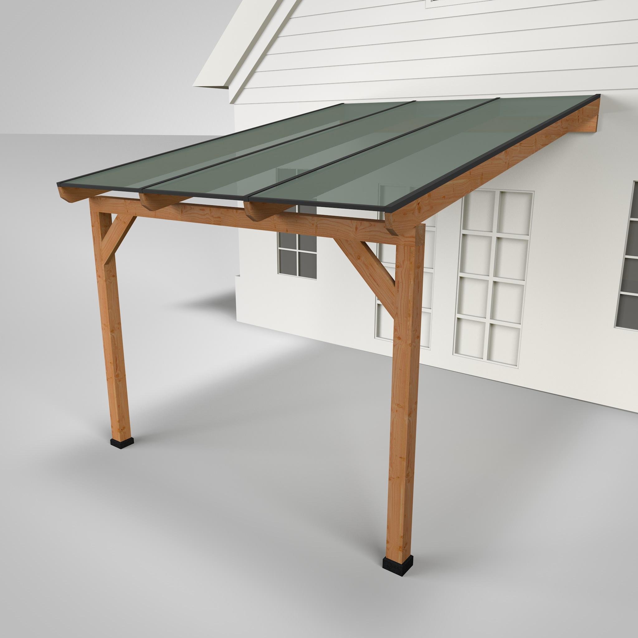 Westwood   Douglas terrasoverkapping   Comfort +   Opaal   Antraciet   306x350   Muuraanbouw