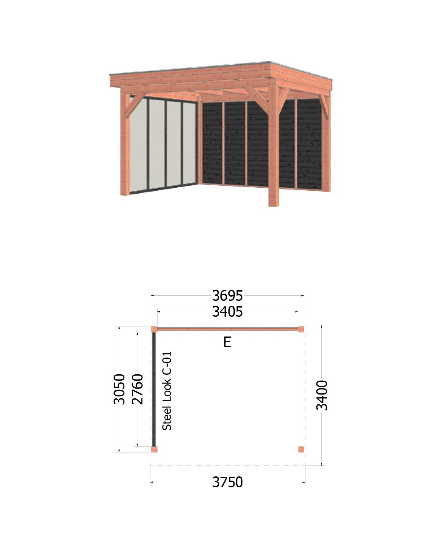 Trendhout | Buitenverblijf Refter XL 3750x3400 mm | Combinatie 2