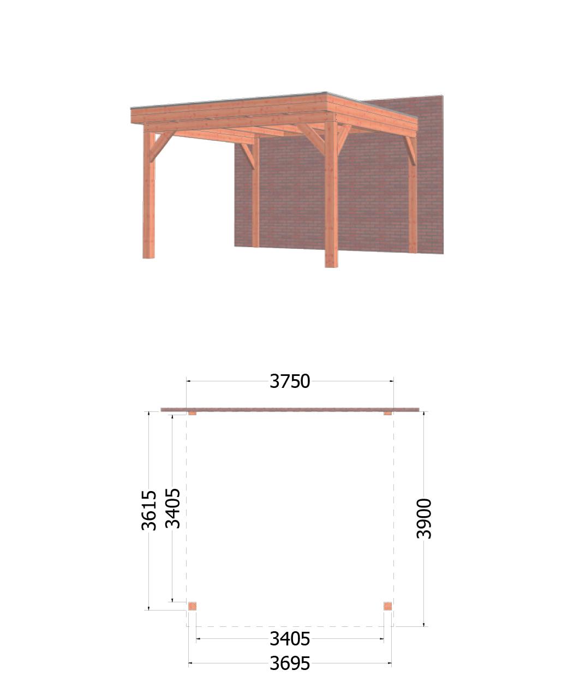 Trendhout | Aanbouwveranda Ancona | 3750x3900 | Combinatie 1
