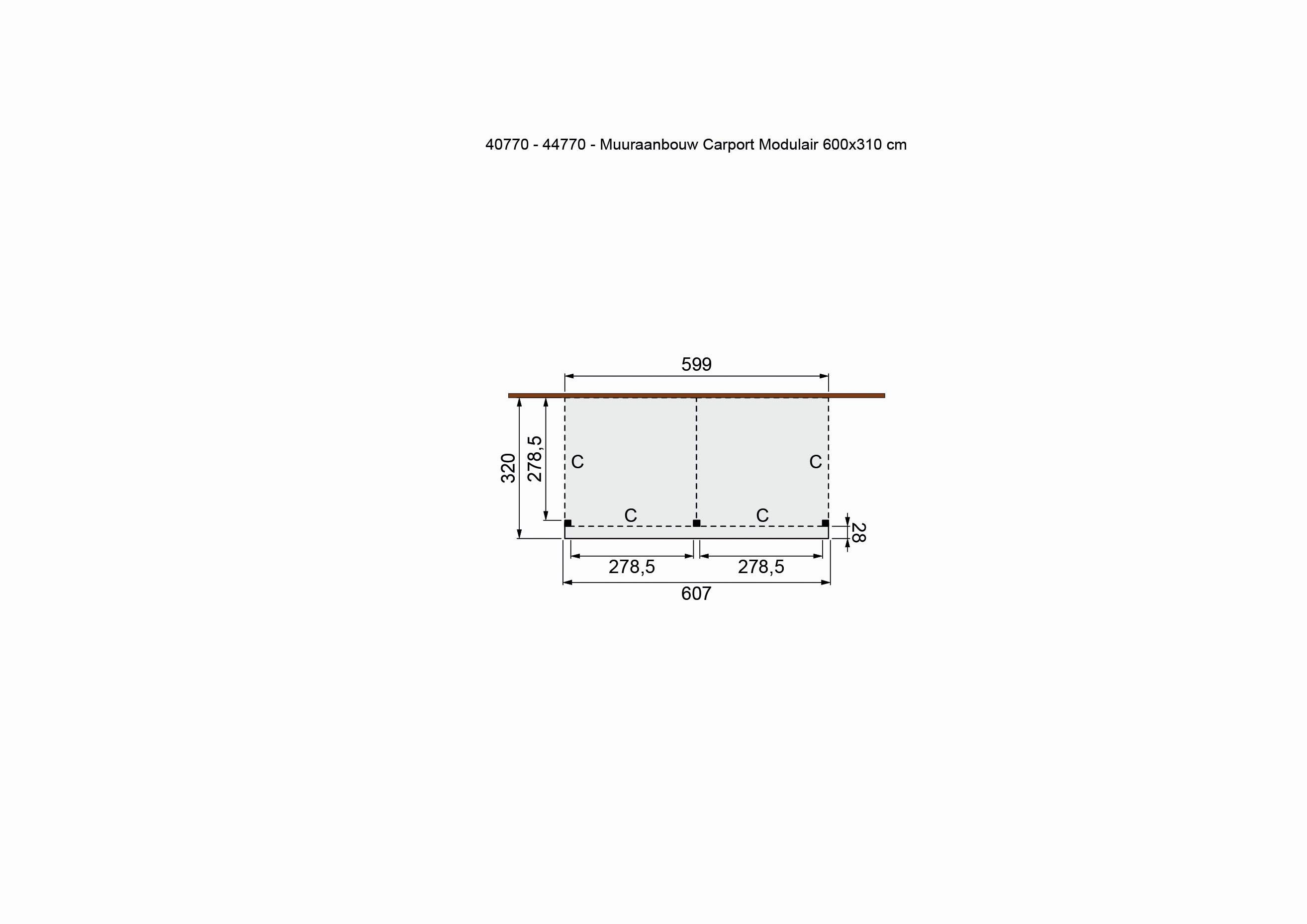 Douglasvision | Carport Zijaanbouw 605 x 320 | Geimpregneerd-groen
