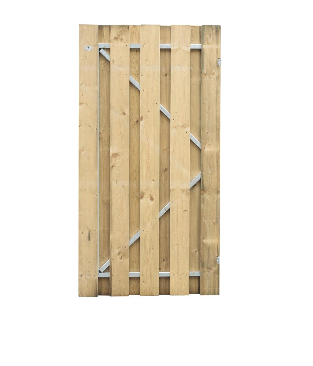 Jumbo vuren poort op stalen frame | 100 x180 cm | Uitgefreesd slotgat