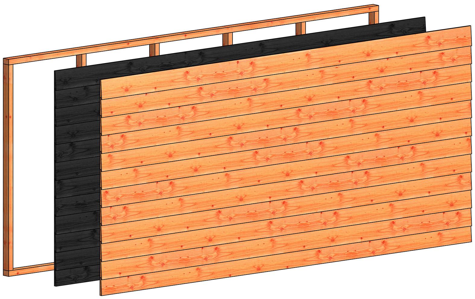 Trendhout | Wandmodule L potdekselplanken zwart | 340.5x156 cm