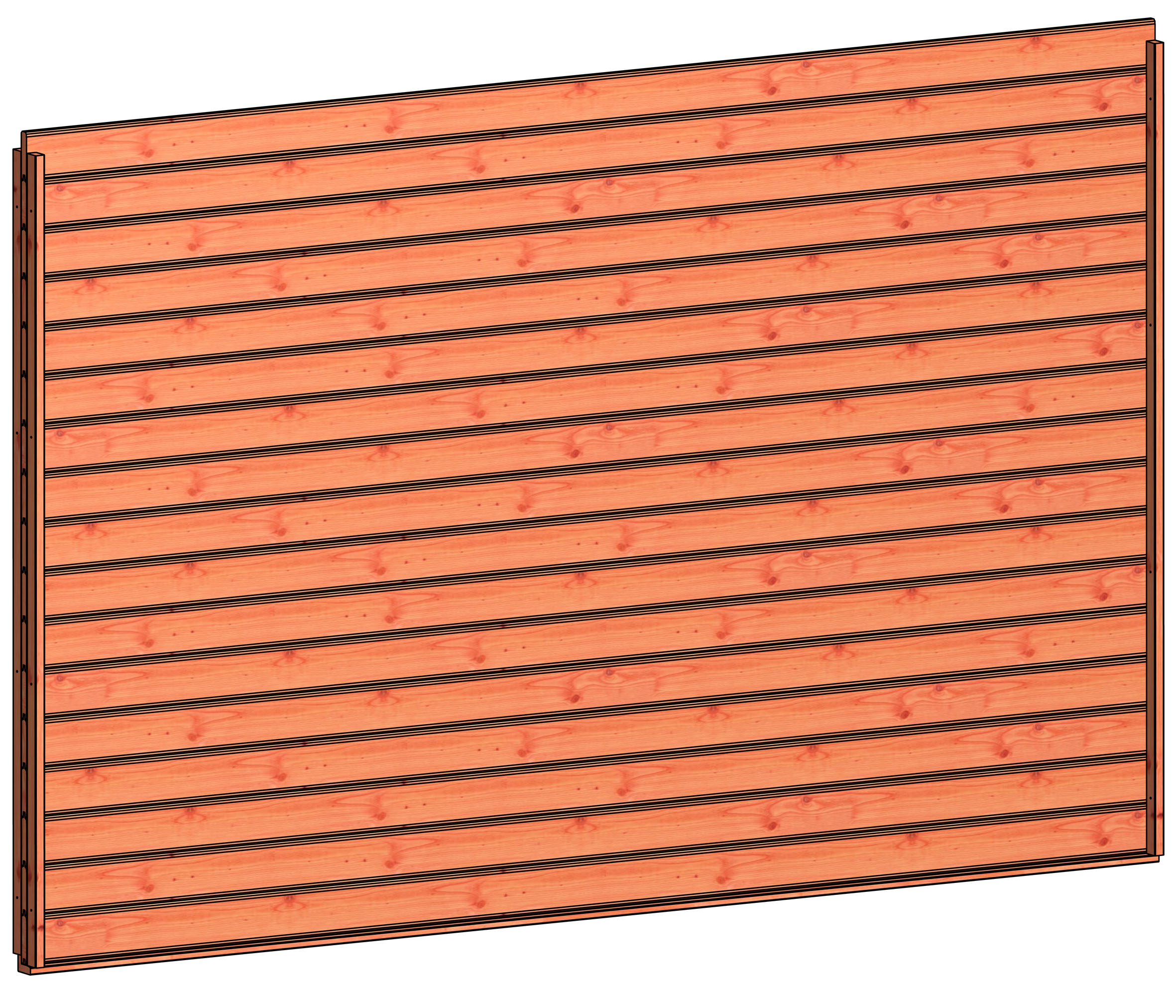 Trendhout | Wandmodule E blokhut profielplanken | 340.5x220 cm