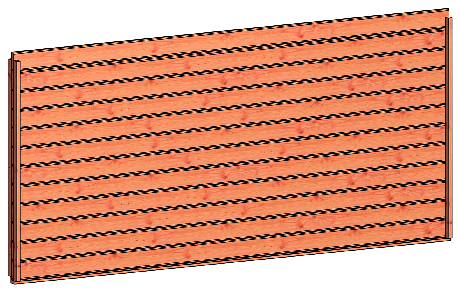 Trendhout | Wandmodule L blokhut profielplanken | 340.5x156 cm