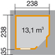WEKA   Designhuis 213 Gr.1   240x240 cm   Grijs