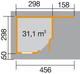 Blokhut | Designhuis 213A Gr.2 | 298 x 456 | WEKA | Zweeds rood