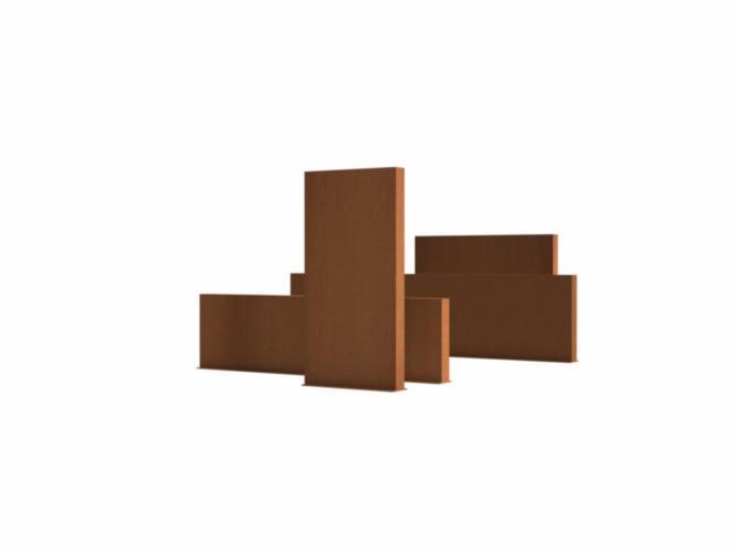 Adezz | Onbehandeld staal wand | 400 x 15 x 135 cm