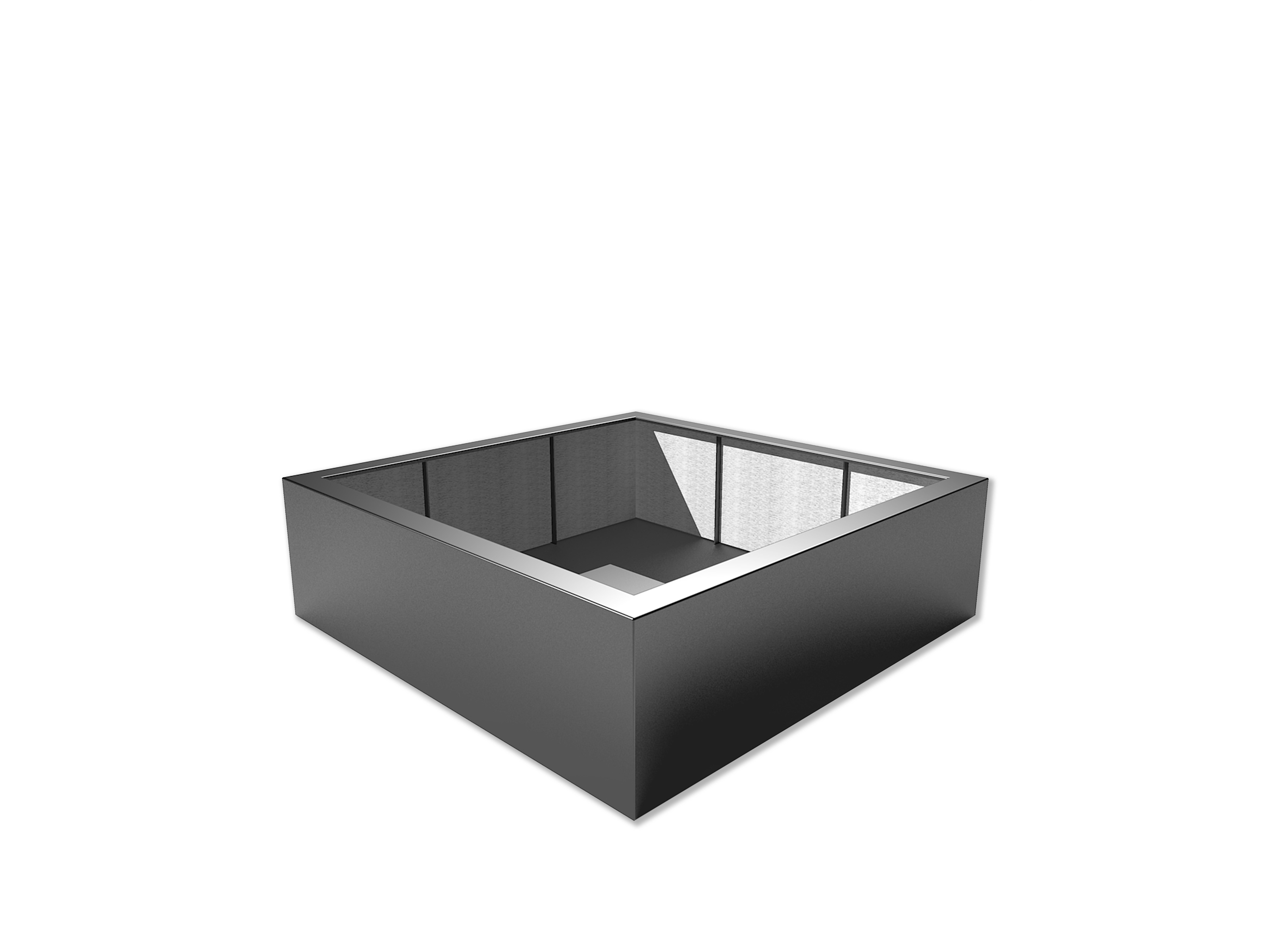 Adezz | Polyester bloembak Buxus | 200 x 200 x 60 cm | Antraciet